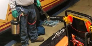 cleaning and disinfecting fire engine